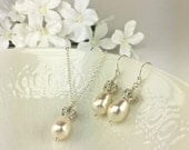 Ivory Pearl Necklace Earring Teardrop Pearl Jewelry Set Swarovski Light Cream Rose Pearl Crystal Ball Sparkly Bridesmaid Jewelry Gift Rachel
