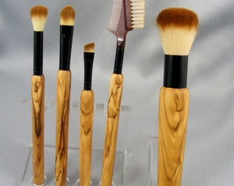 Olive Wood Makeup Brush Set