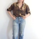 Womens Blouses Vintage Gold Metallic