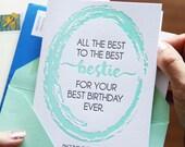 Funny Friend BFF Bestie Best Birthday Letterpress Card