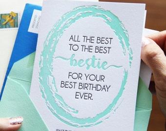 Funny Friend Best Bestie BFF Birthday Letterpress Card | kiss and punch