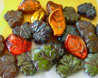Czech Picasso Beads, Assorted Beads, Leaf Glass Beads, Below Par Lot #1