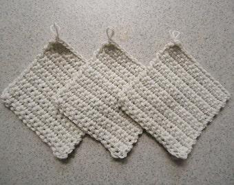 Set of 3 Off White Hand Crocheted Potholders - Kitchen Decor