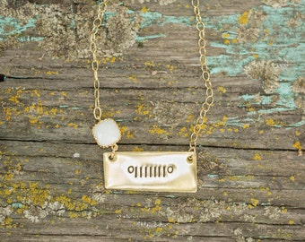 Jeep Necklace/ Custom Gold Jewelry/ Jeep Girl/ Gold Necklace/ Dainty Necklace/ Custom Crystal Color/ Jeep Wrangler Accessory