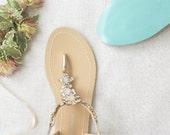 Something Blue Sole Wedding Shoes Sandals with gold Jewel Crystal Destination Beach Wedding Bohemian