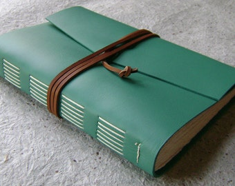 "Large Leather Journal, 6""x 9"", turquoise, handmade journal by Dancing Grey Studio(2134)"