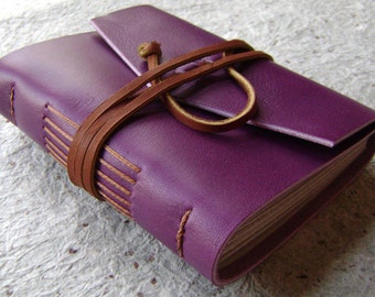 """Small Leather Journal, 3.5""""x 4.5"""", violet/purple, handmade journal by Dancing Grey(1733)"""