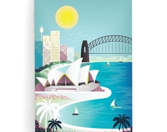 Sydney Canvas Wall Art Skyline Print Framed, Harbour and Opera House, Illustration, Home decor, Kids room art and Nursery, gift for MCS1