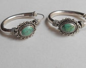 Balinese Silver sterling hoop earrings turquoise cabochon  / silver 925 / Bali handmade jewelry / 1.25 inch long