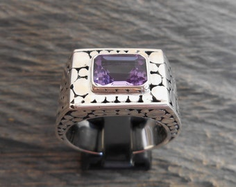 Heavy solid Silver sterling amethyst signet ring /  size :  9 ready to ship  / sterling silver  / Bali handmade jewelry / request your size