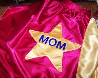 Womens Star Super MOM Custom Superhero Cape, Supermom Super Hero Cape