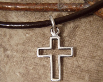 Boy's cross necklace - First Communion gift for boys - Small Sterling silver cross necklace on leather cord