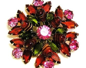 Art Glass Brooch  Cerise Pink and Dark Olive Green
