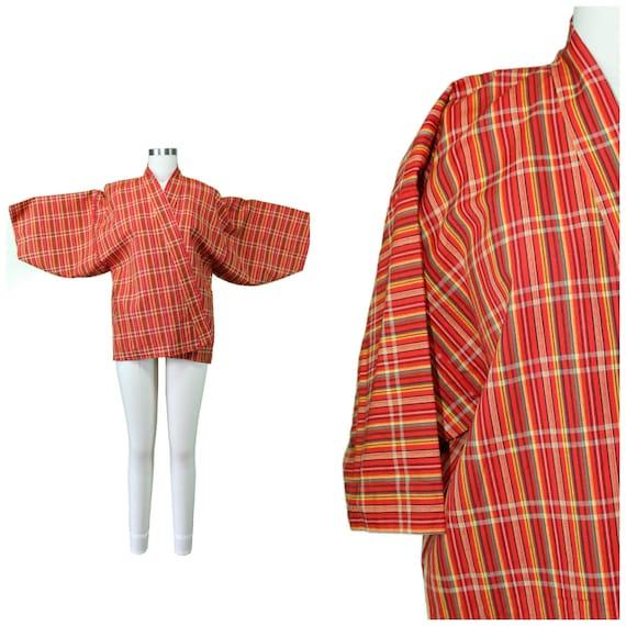 Vintage Japanese Kimono / Authentic Vintage Kimono / Festival Short Kimono / Spring Summer Cotton Kimono / Festival Plaid Print Kimono