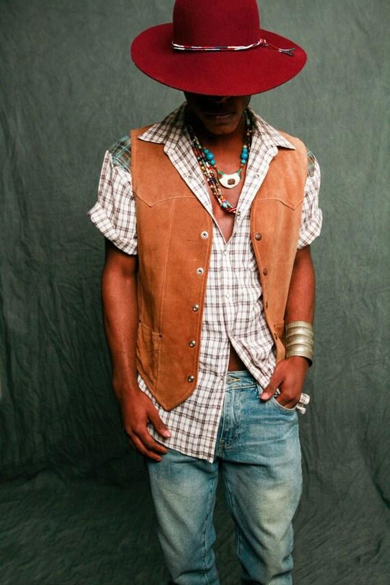 70s Western Shirt / Vintage Western Shirt / 70s Mens Shirt / Vintage Plaid Shirt / Vintage Pearl Button Snap Shirt / Contrast Yoke