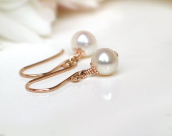 14k Rose Gold Filled Pearl Earrings | 6mm White Freshwater Pearls | Petite Dangles | Birthday Gift | Everyday Pearl Dangles | Made to Order