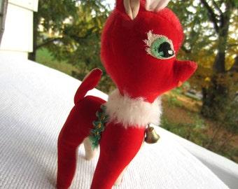 Vintage Mid Century Red Velveteen Reindeer Japan Plush Bell