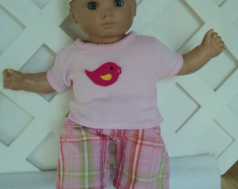 Doll Clothes,  Bitty Baby Girl   3 pc  Pants outfit  with headband and pants