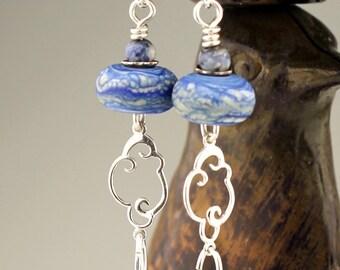 SRAJD Lampwork Earrings Sterling Silver - Denim Blue Beaded Jewelry 'Blue Sky'