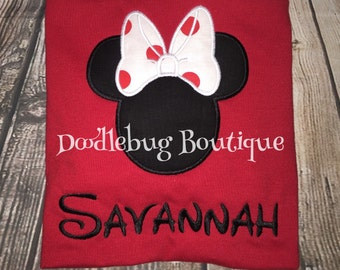 Minnie Mouse shirt with polka dot bow