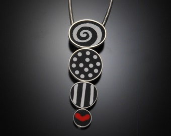 Sterling silver, polymer clay necklace #20