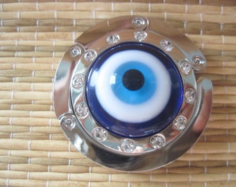 Glass Gods Eye / Evil Eye Folding Rhinestone Purse  Hanger Hook