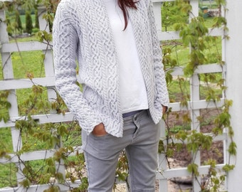 Made to order! 2 sizes, Cableknit cardigan, Cozy jacket, Stylish for Women, FREE shipping, handknit