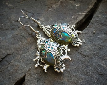 Green Medieval Cross Earrings