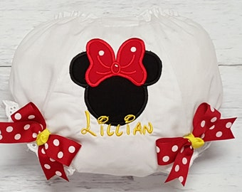Minnie Mouse  Personalized Red White Polka Dot Diaper Cover Bloomers or Design your own