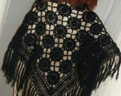 Vintage 1970s Lacey Black Goth Fringed Crochet Shawl One Size Fits All