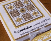 Hand made Greeting card,  Friendship quilt, stamped, quilt block, butter yellow