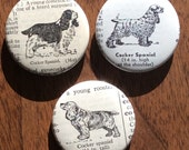 Reserved for Stephanie Cocker Spaniel Vintage Dictionary Magnet Set of 3