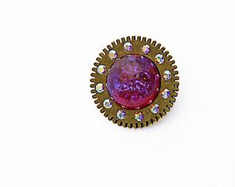 Steampunk Brass Brooch Vintage Czech Glass Dragon's Breath Opal Swarovski Aurora Borealis Crystals Antique Bronze Gearwheel Rose Red Violet