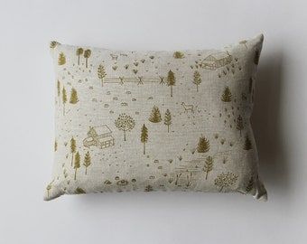 Linen Pillow Cover - yellow/green Homestead