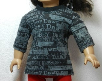 TC Black & Gray Abbey Dawn Tee with Three-quarter Sleeves  - 18 Inch Doll Clothes fits American Girl