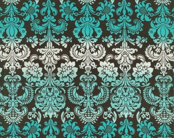 Clearance** Couture Mama Nursing Cover - Turquoise, White & Brown Damask