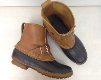 VTG LL BEAN 7 Womens Duck Rain Snow Winter Boots Buckle Strap Leather Rubber