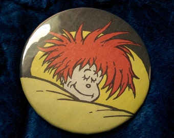 Sleeping Seuss button badge pin funky style redhead art rave club kid fashion