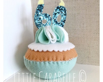 Handmade Felt Birthday Cupcake featuring celebration age in glitter candles - 60th