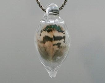 Glass Pendant Handblown Boro Lampwork Glass Jewelry Feather Pendant