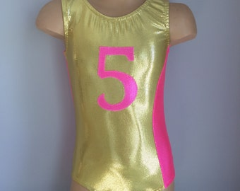 Gymnastics Leotard. Dance Leotard with Initial/Number Applique . CHOOSE YOUR COLOR.   Sizes 2t - Girls 10