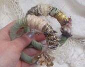 Gypsy Bracelets Set of 2 Beautiful Handmade OOAK Textile Fiber Art Recycled Materials