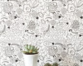 Removable Wallpaper // Floral Circus // Adheres to walls and shelves // Fully removable