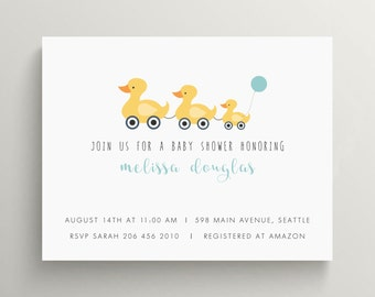 little yellow ducks baby shower invitation set // kids birthday invitation // pull toy // rubber duck // baby announcement // thank you note