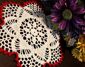 White and red mini doily