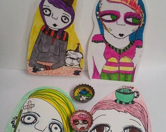 Grab bag,bookmark,ladies,punk,goth,toys,creatures,bubble pack,party,birthday,assortment