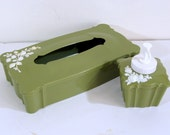 Vintage Tissue Box, Dispenser, Holder and Lotion or Soap Dispenser Green With Roses