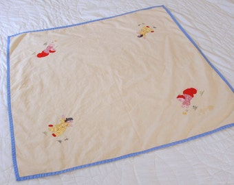 Small Tablecloth, Hand Made, Applique, Embroidery, Asian Motif