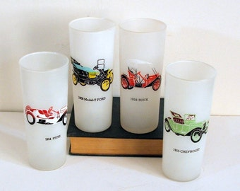 Frosted Tom Collins Glasses with Antique Automobiles, Set of 4