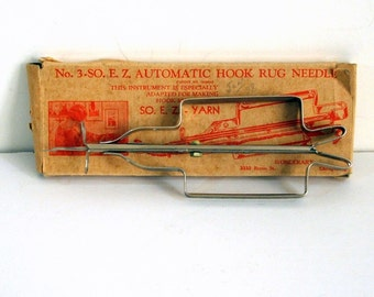 Automatic Hook Rug Needle No. 3 SO. E.Z. Yarn Wonderart 1930s